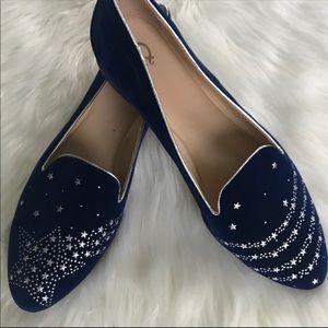 New Blue Velvet Shooting Star loafers 10WIDE